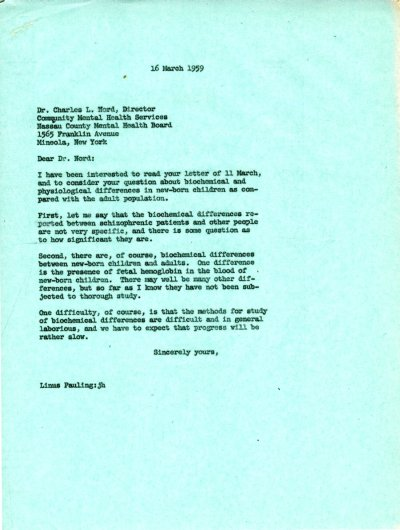 Letter from Linus Pauling to Charles L. Nord. Page 1. March 16, 1959