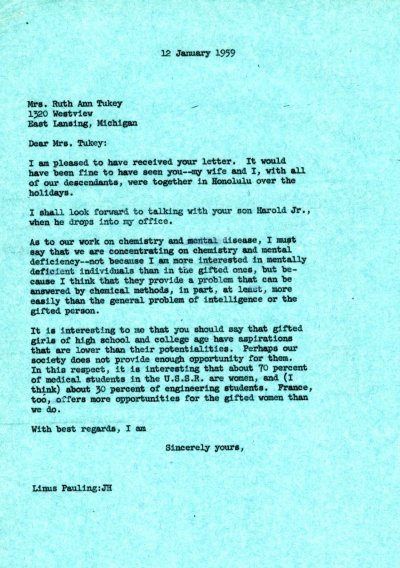 Letter from Linus Pauling to Ruth Ann Tukey. Page 1. January 12, 1959