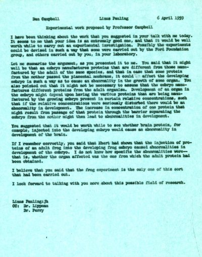Letter from Linus Pauling to Dan Campbell. Page 1. April 6, 1959