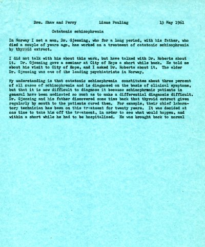 Letter from Linus Pauling to Kenneth Shaw and Thomas Perry. Page 1. May 15, 1961