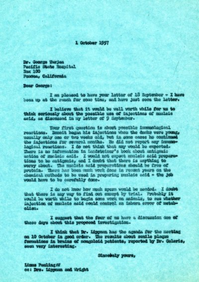 Letter from Linus Pauling to George Tarjan. Page 1. October 1, 1957