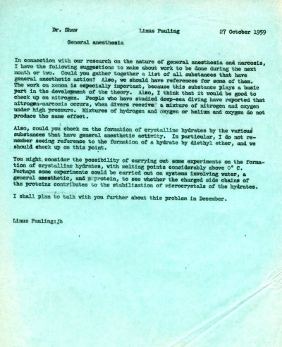 Letter from Linus Pauling to Kenneth Shaw. Page 1. October 27, 1959