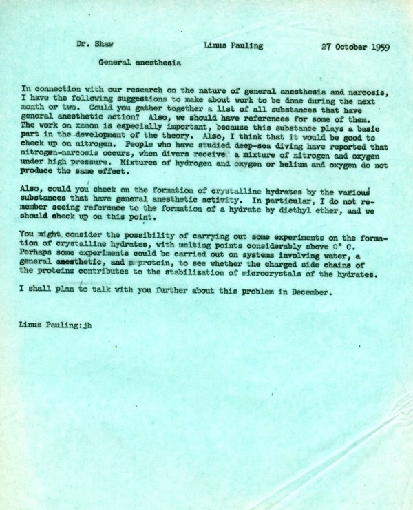 Letter from Linus Pauling to Kenneth Shaw.Page 1. October 27, 1959