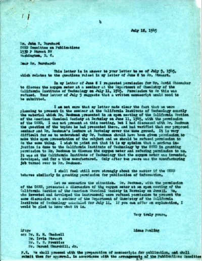 Letter from Linus Pauling to John Burchard. Page 1. July 18, 1945