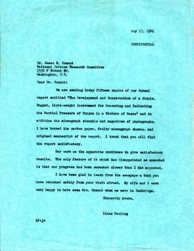 Letter from Linus Pauling to James B. Conant. Page 1. May 13, 1941