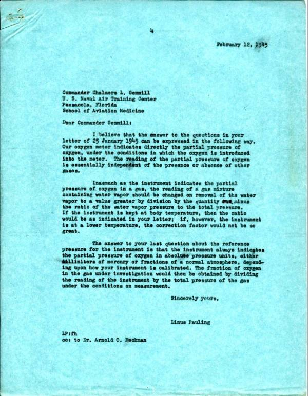 Letter from Linus Pauling to Chalmers L. Gemmill. Page 1. February 12, 1945