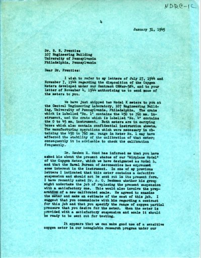 Letter from Linus Pauling to S.S. Prentiss. Page 1. January 31, 1945