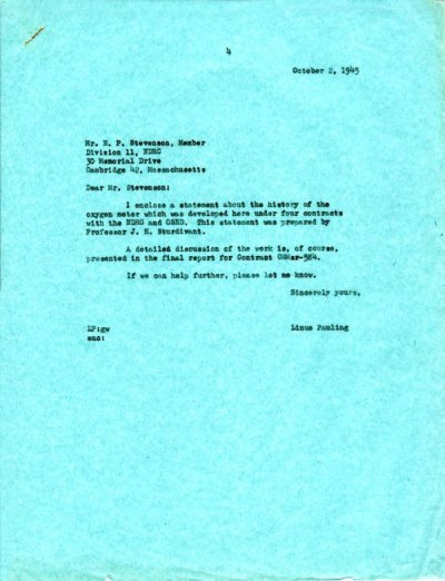 Letter from Linus Pauling to Earl P. Stevenson.Page 1. October 2, 1945