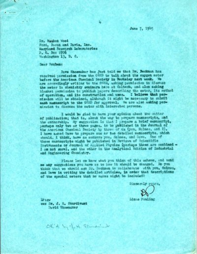 Letter from Linus Pauling to Reuben Wood. Page 1. June 7, 1945