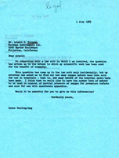 Letter from Linus Pauling to Arnold O. Beckman.Page 1. July 1, 1963