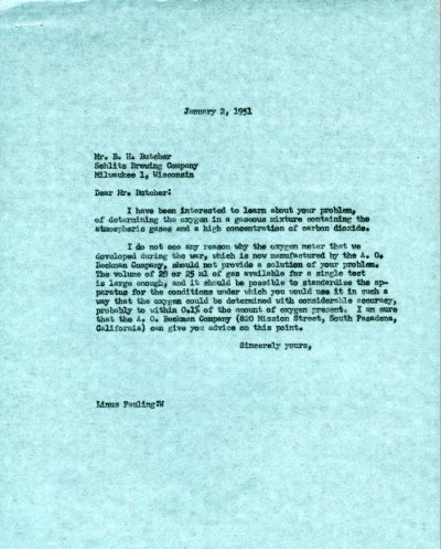 Letter from Linus Pauling to B.H. Butcher.Page 1. January 2, 1951