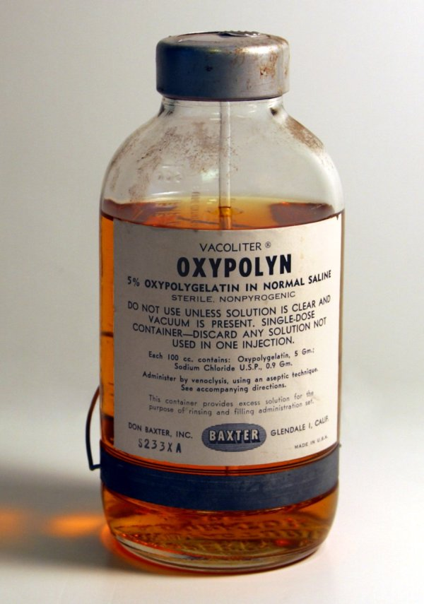 An original container of 5% Oxypolygelatin in normal saline.