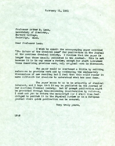 Letter from Linus Pauling to Arthur B. Lamb. Page 1. February 11, 1931
