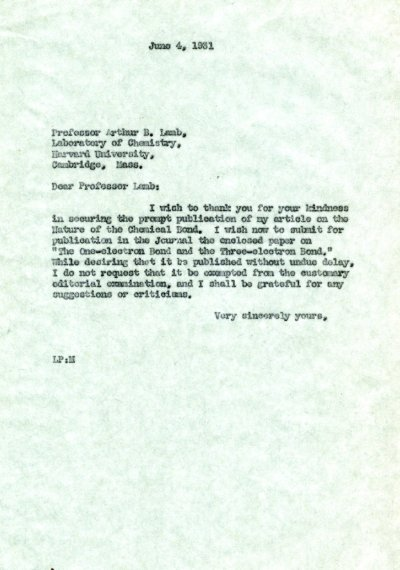 Letter from Linus Pauling to Arthur B. Lamb.Page 1. June 4, 1931