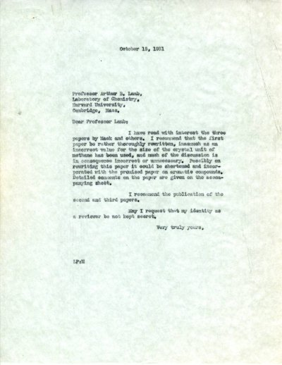 Letter from Linus Pauling to Arthur B. Lamb.Page 1. October 15, 1931