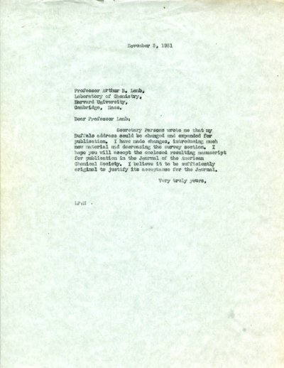 Letter from Linus Pauling to Arthur B. Lamb.Page 1. November 3, 1931