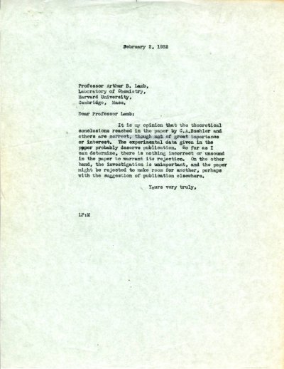 Letter from Linus Pauling to Arthur B. Lamb.Page 1. February 2, 1932