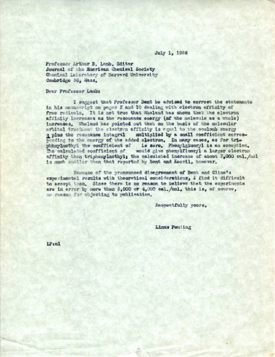 Letter from Linus Pauling to Arthur B. Lamb. Page 1. July 1, 1936