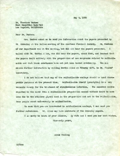 Letter from Linus Pauling to Theodore Dunham. Page 1. May 4, 1938