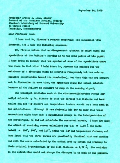 Letter from Linus Pauling to Arthur B. Lamb.Page 1. September 14, 1939