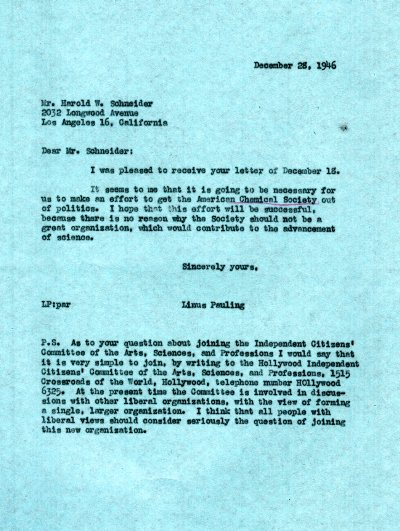 Letter from Linus Pauling to Harold W. Schneider. Page 1. December 28, 1946