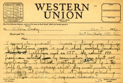 Telegram from Linus Pauling to Alden Emery.Page 1. November 8, 1950