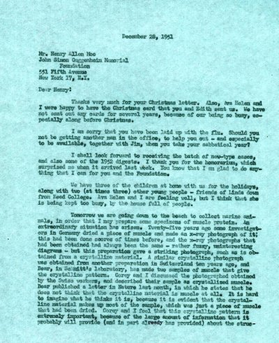 Letter from Linus Pauling to Henry Allen Moe.Page 1. December 28, 1951