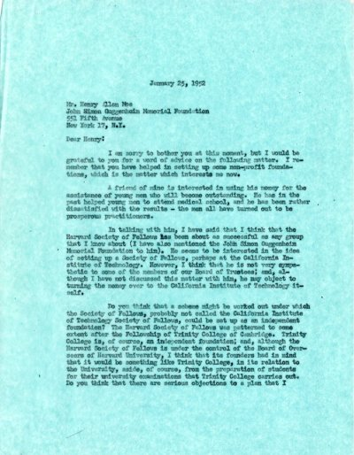 Letter from Linus Pauling to Henry Allen Moe.Page 1. January 25, 1952