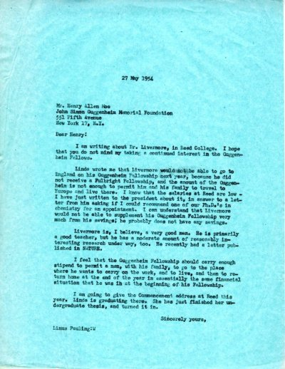 Letter from Linus Pauling to Henry Allen Moe.Page 1. May 27, 1954