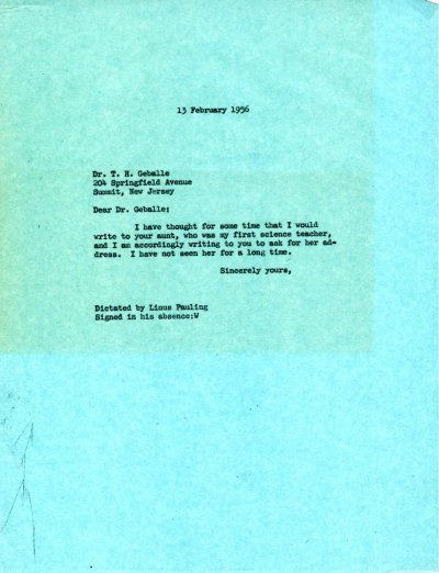 Letter from Linus Pauling to T.H. Geballe. Page 1. February 13, 1956