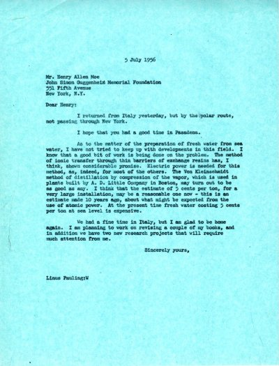 Letter from Linus Pauling to Henry Allen Moe. Page 1. July 5, 1956