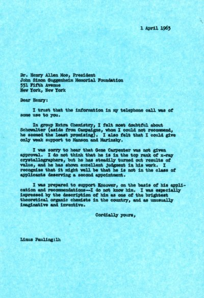 Letter from Linus Pauling to Henry Allen Moe. Page 1. April 1, 1963