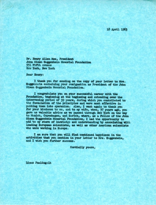 Letter from Henry Allen Moe.Page 1. April 18, 1963