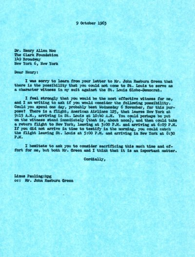 Letter from Linus Pauling to Henry Allen Moe.Page 1. October 9, 1963