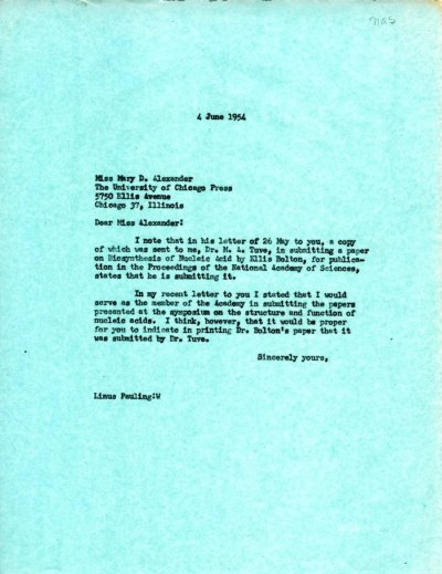 Letter from Linus Pauling to Mary D. Alexander.Page 1. June 4, 1954
