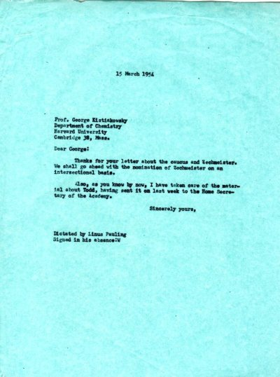 Letter from Linus Pauling to George Kistiakowsky. Page 1. March 15, 1954