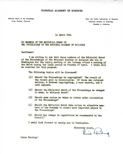 April 14, 1954 - Linus Pauling Day-by-Day - Special Collections