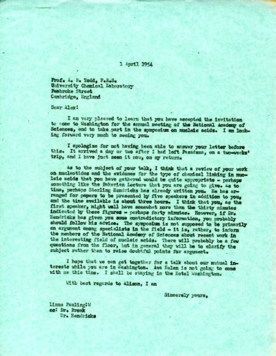 Letter from Linus Pauling to Alexander Todd.Page 1. April 1, 1954