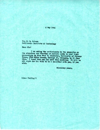 Letter from Linus Pauling to Jim Watson.Page 1. May 6, 1954