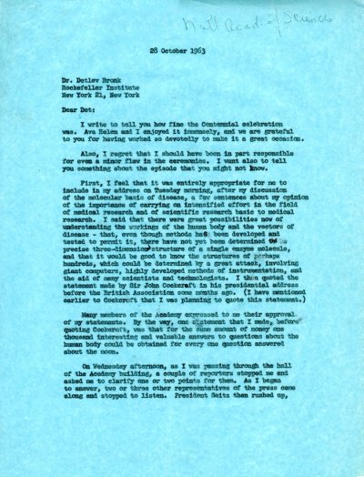 Letter from Linus Pauling to Detlev Bronk. Page 1. October 28, 1963