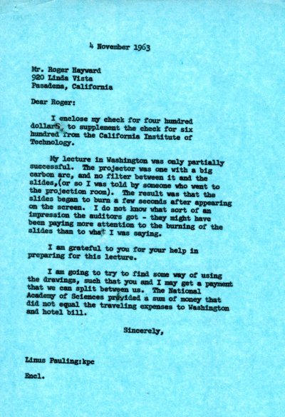 Letter from Linus Pauling to Roger Hayward. Page 1. November 4, 1963
