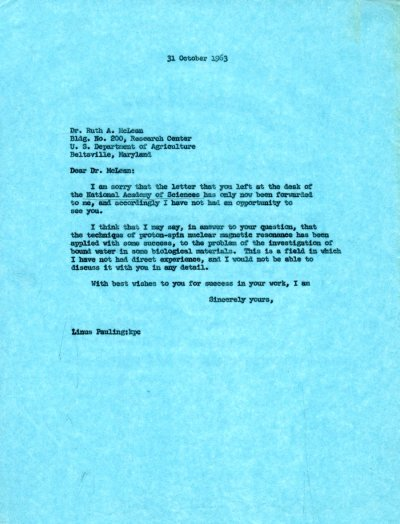 Letter from Linus Pauling to Ruth A. McLean. Page 1. October 31, 1963