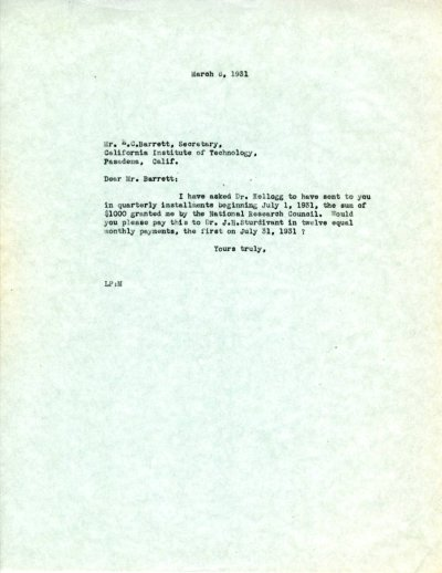 Letter from Linus Pauling to E.C. Barrett.Page 1. March 6, 1931