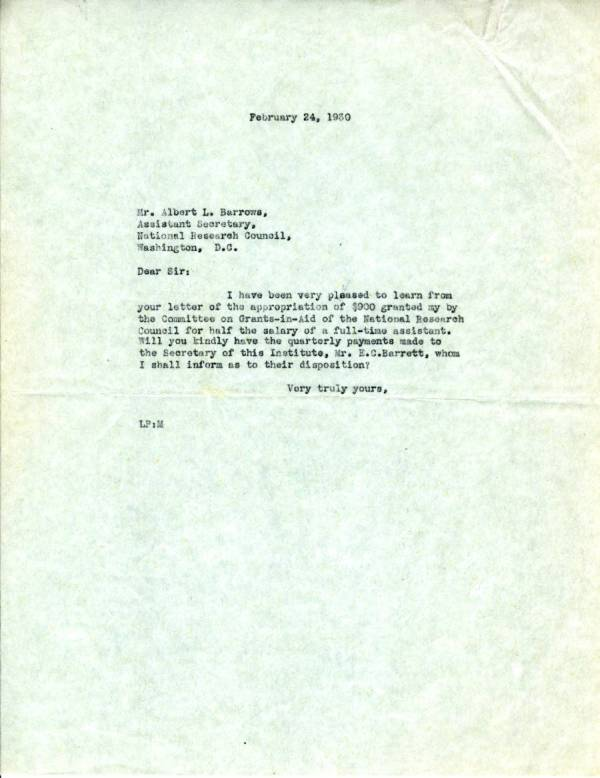 Letter from Linus Pauling to Albert L. Barrows.Page 1. February 24, 1930