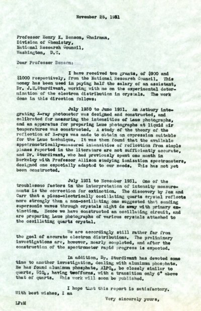 Letter from Linus Pauling to Henry K. Benson.Page 1. November 25, 1931