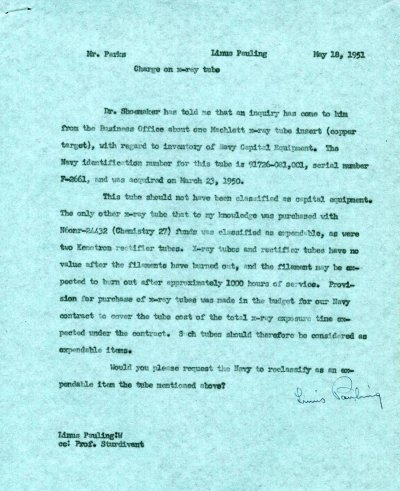 Memorandum from Linus Pauling to C.K. Parks. Page 1. May 18, 1951