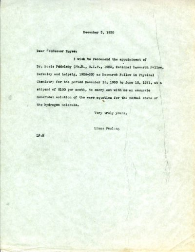 Letter from Linus Pauling to A.A. Noyes. Page 1. December 3, 1930