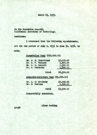Letter from Linus Pauling to the Caltech Executive Council. Page 1. March 19, 1935