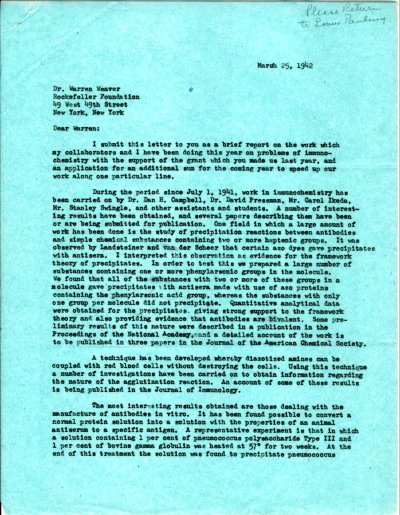 Letter from Linus Pauling to Warren Weaver.Page 1. March 25, 1942