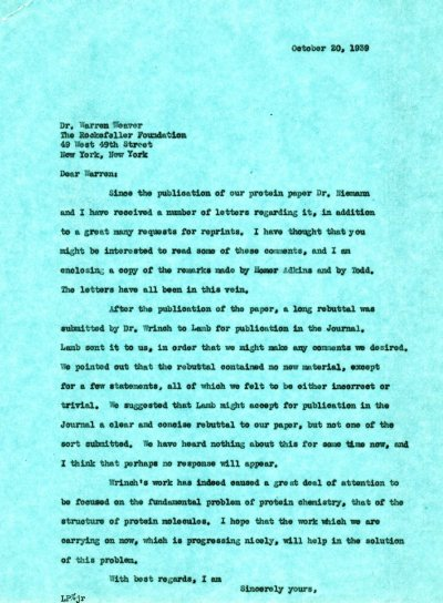 Letter from Linus Pauling to Warren Weaver.Page 1. October 20, 1939